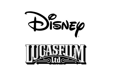 Disney and Lucasfilm - Company logos - Black and white colour