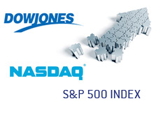 logos and arrow building up - dow jones industrial average - nasdaq composite - sp 500 index