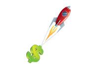 Rocket pulling up a US Dollar - Illustration