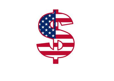 Dollar sign textured with the American flag