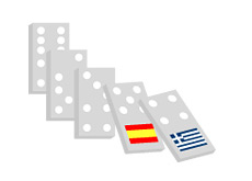-- Dominos falling one by one - Greece, Spain etc.- Bond Defaults --