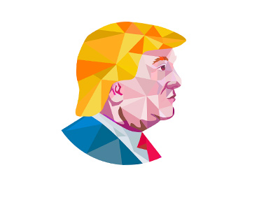 Artistic profile of Donald Trump. Polygon style.