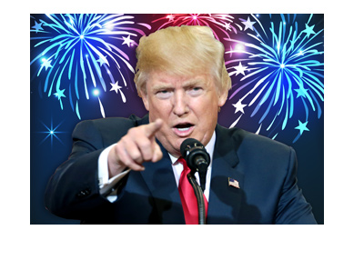 Donald Trump in his trademark pose.  Pointing finger.  Fireworks in the background.
