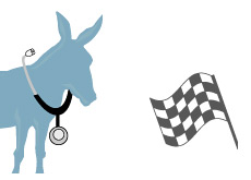 -- Democrats approaching the finish line - Donkey and the Checkered Flag - Illustration --