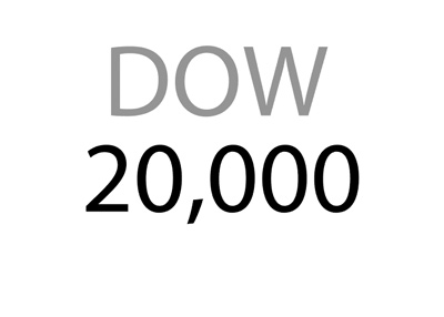 Dow Jones Industrial - DOW - 20,000 - Logo / sign / concept.