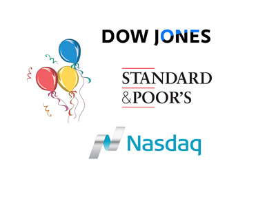 S&p 500, Dow Jones and Nasdaq party with baloons