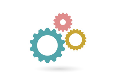 Employment - Illustration / Concept - Gears / Cogs in three colours