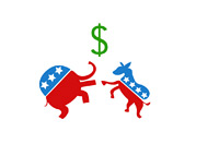 Elephant and Donkey are fighting over dollars - Republicans vs. Democrats - Fiscal Cliff - Illustration