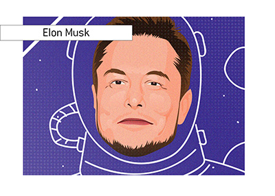 Elon Musk in a purple space suit.  Polarizing figure he is to say the least.