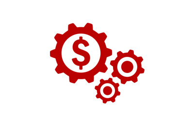 The Jobs Report - Concept drawing - Red cogs, dollar sign.