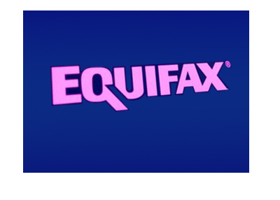 Equifax logo - Pink on blue - LED screen.