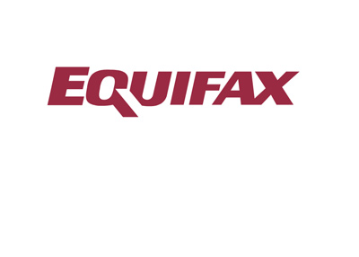 Equifax logo - Red lettering on white background.