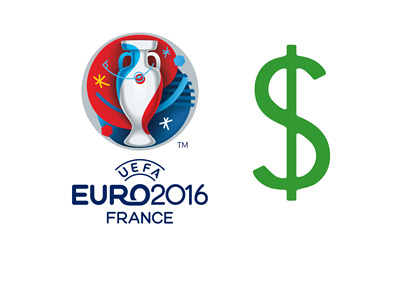 The UEFA EURO 2016 logo next to a green coloured dollar sign.  Illustration / concept