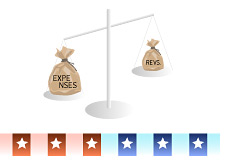 -- Expenses vs. revenues scale - Republican vs. Democrats --