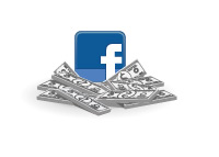 Facebook logo sitting on cash - Illustration