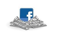Facebook logo sitting on cash - Illustration
