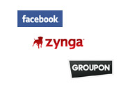 Facebook, Zynga and Groupon logos