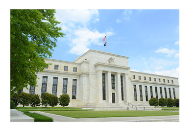 The United States Federal Reserve building on a sunny summer day