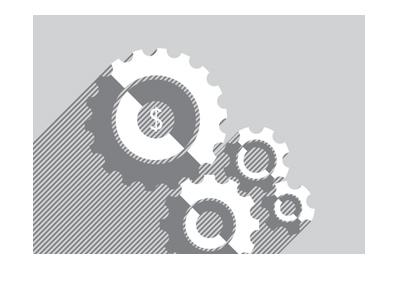 The Financial Cogs - Illustration - Grey colour.  Jobs report.