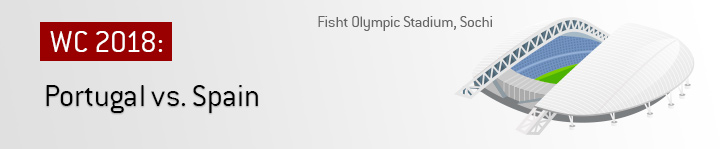 Spain play Portugal at the Fisht Olympic Stadium in Sochi in the opening round of games of the 2018 World Cup in Russia.  Bet on the match!