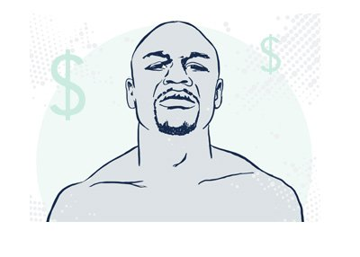 The drawing of one of the best boxers of all time - Floyd Mayweather - The Money Man.