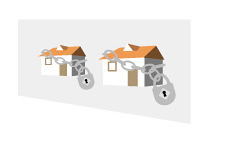 -- Illustration of foreclosure homes - locks on houses --