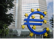 -- european central bank - frankfurt euro sign --