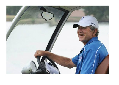 George W. Bush - Riding in a golf cart - Facebook photo