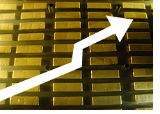 -- gold bars with an arrow pointing up - raising gold prices --