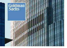 -- windows of goldman sachs building - corporate logo --