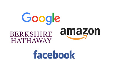 Google, Amazon, Berkshire Hathaway and Facebook - Company logos