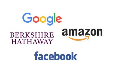 Google, Amazon, Berkshire Hathaway and Facebook - Company logos