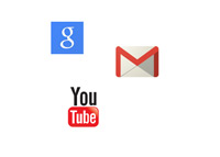 Google, Gmail and Youtube - Logos