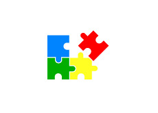 -- Illustration of google coloured puzzle coming together --