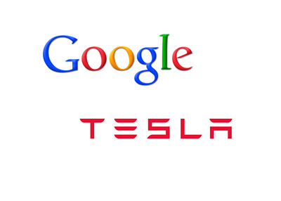 Google and Tesla Motors - Company Logos