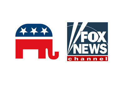 Grand Ol Party (Republican) logo next to Fox News logo - Debate 2015