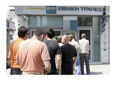 Lineup in front of a Greek Bank - Summer 2015