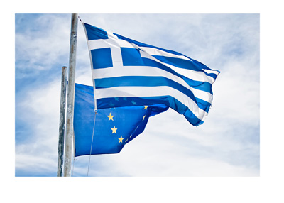 Greece and European Union flags - Clouds over clear skies