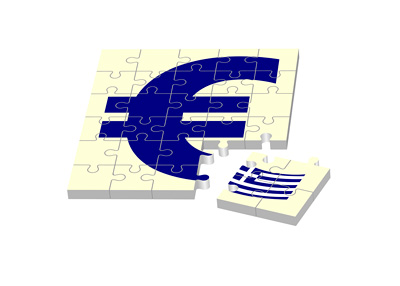 Greece on path to part ways with Euro - Illustration - Concept - Puzzle