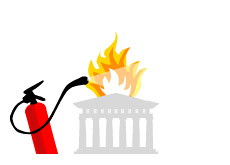 -- Temple of Zeus - Greece on fire illustration - extinguisher --