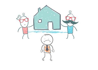 Grown man still living at his parents house - Illustration