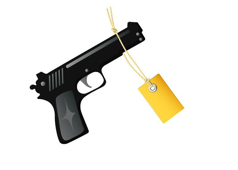 Handgun (Pistol) Price Tag - Illustration - Drawing - Concept