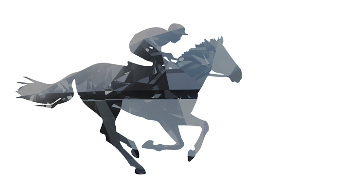 Horse Racing - Drawing with a diamond like effect - Black and white.