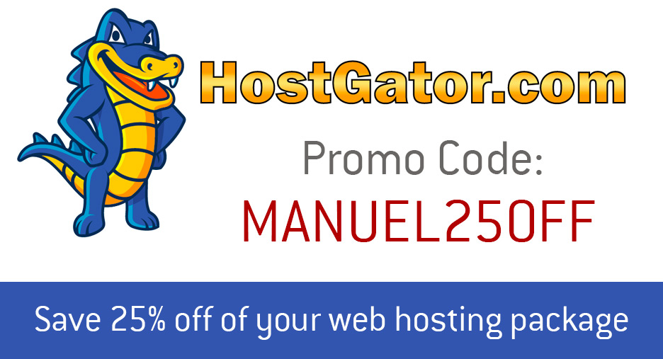 Hostgator Coupon Code MANUEL25OFF - 25% Off Your Hosting Bill