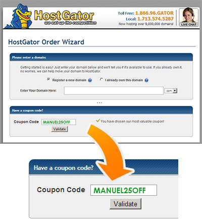 Instructions on how to insert the Hostgator Coupon Code on the website - Screen Shot - MANUEL25OFF