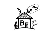 House, Cat and Price Tag - Illustration