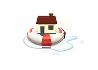 House on a floating device - Illustration