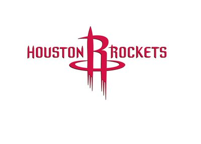 Houston Rockets - Full logo with letters - On white background.