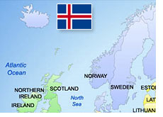 map of northern europe - iceland - flag