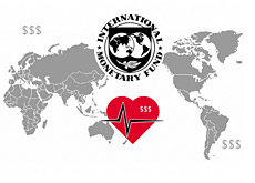 world map - imf logo - international monetary fund - first aid logo - dollar signs